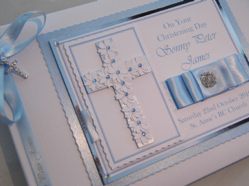 Personalised Baby Boys Christening Guest Book
